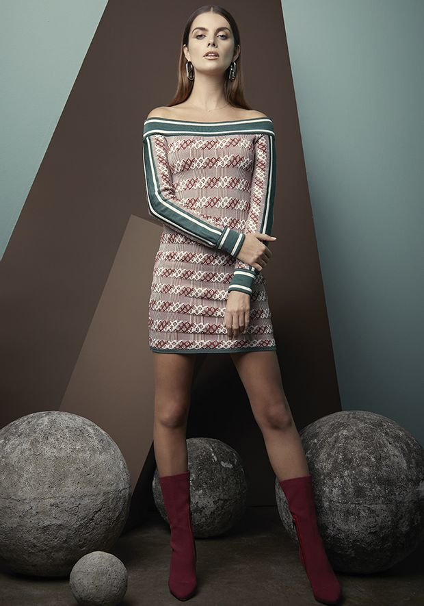 Vestido-Tricot-Bandage-Xadrez-Elle