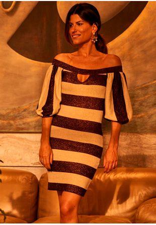 Vestido-Tricot-Ombro-a-Ombro-Listra-Lurex-Luz--marrom-e-dourado-2