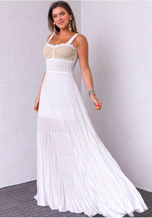 Vestido-Tricot-Longo-Plissado-Alca-Laco