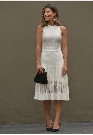 5af2149f5 Vestido Midi de Tricot e Renda - Moda Feminina