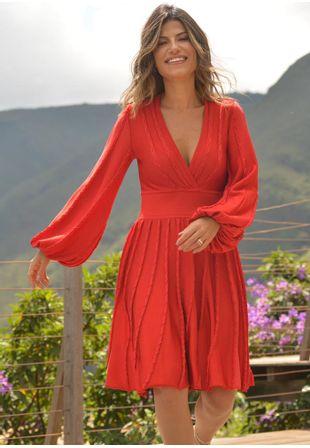 4665500dc Vestido Curto - Moda Feminina - Tricot e Renda