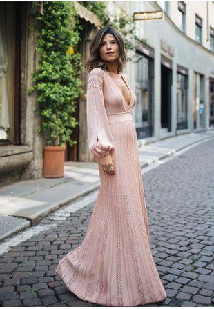 Vestido-Tricot-Longo-Seta-Decote-Profundo--rose-1