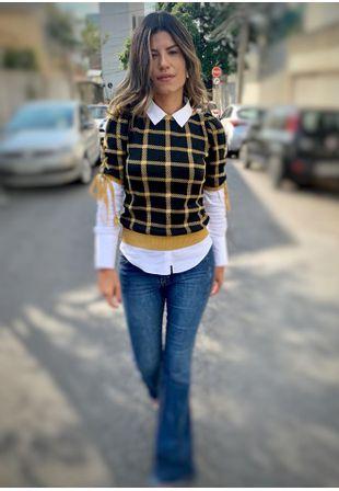 Blusa-Tricot-Manga-Curta-Xadrez--preto-e-caramelo-1