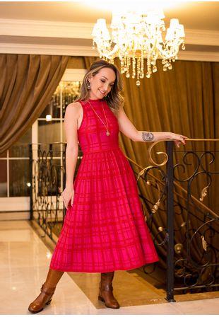 Vestido-Tricot-Midy-Xadrez-Plissado--vermelho-1