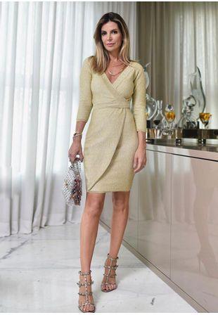 Vestido-Tricot-Curto-Transpassado--dourado