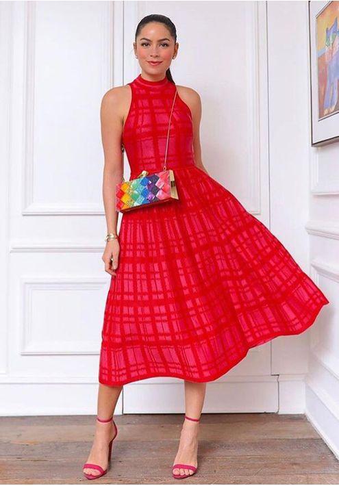 Vestido-Tricot-Midy-Xadrez-Plissado--vermelho-4
