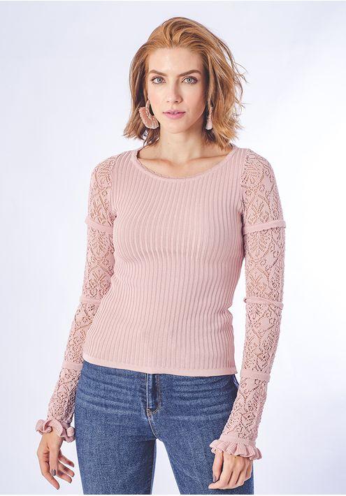 Blusa-Tricot-Canelada-Manga-Rendada--rosa-seco-1