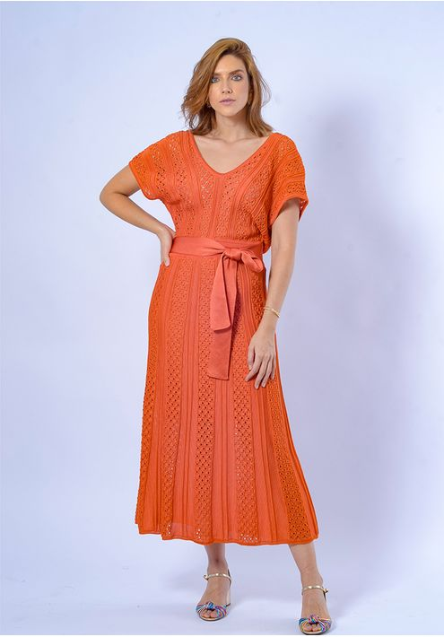 Vestido-Tricot-Midy-Manga-Japonesa--laranja-1
