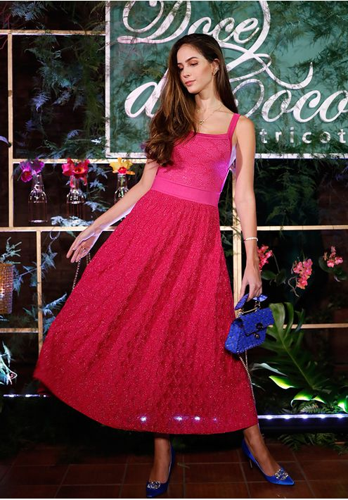 Vestido-Tricot-Midy-Losango-com-Furos--pink-com-brilho-1