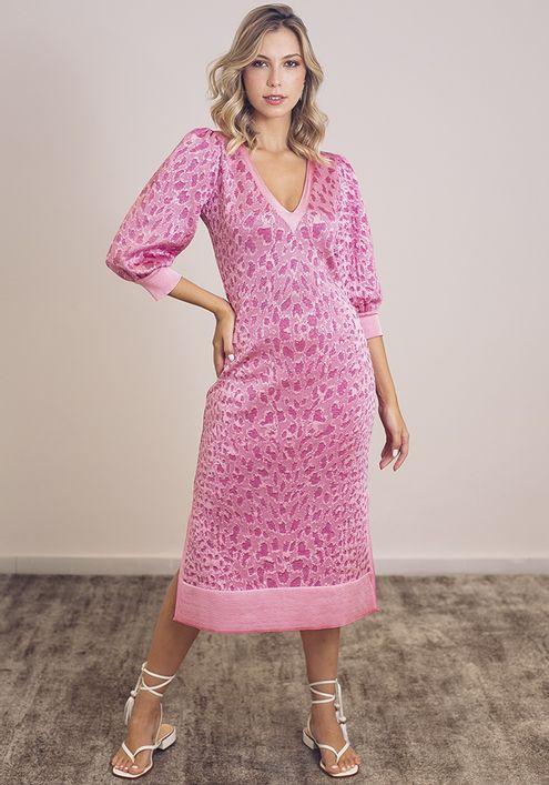 Vestido-Tricot-Midy-Manga-Bufante-Fenda-Lateral--rosa-claro-com-brilho-1